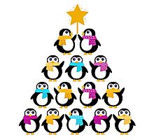 Penguins standing in pyramid - cute Penguins making triangle Photographic Print