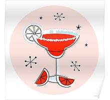 Margarita drink in hand drawn retro style Poster