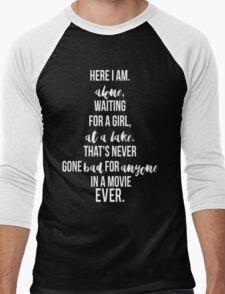 Here I am, Waiting at a lake. Men's Baseball ¾ T-Shirt