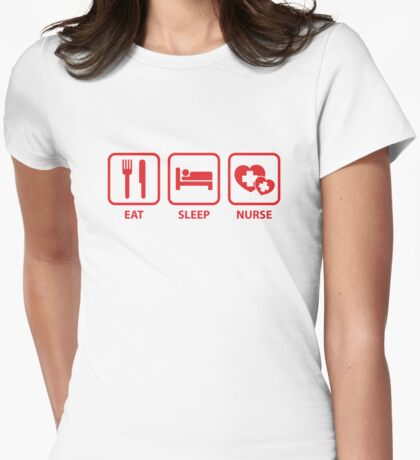 Eat Sleep Nurse Womens Fitted T-Shirt