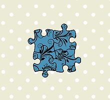 Jigsaw Puzzle Piece, Damask - Blue Black  by sitnica