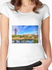 West Ham Olympic Stadium And The Arcelormittal Orbit  Women's Fitted Scoop T-Shirt