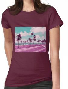 Vaporwave Sea Side Road Womens Fitted T-Shirt