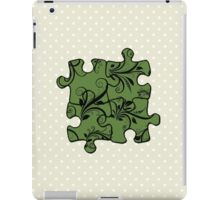 Jigsaw Puzzle Piece, Damask - Green Black  iPad Case/Skin