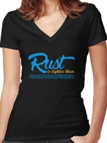 Rust is lighter than carbon fiber (7) Women's Fitted V-Neck T-Shirt