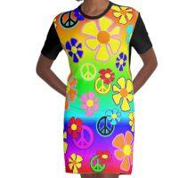 Peace Daisies Graphic T-Shirt Dress
