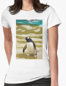 Penguin Paddling Womens Fitted T-Shirt