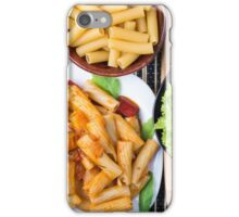Top view of cooked rigatoni pasta with vegetable sauce iPhone Case/Skin