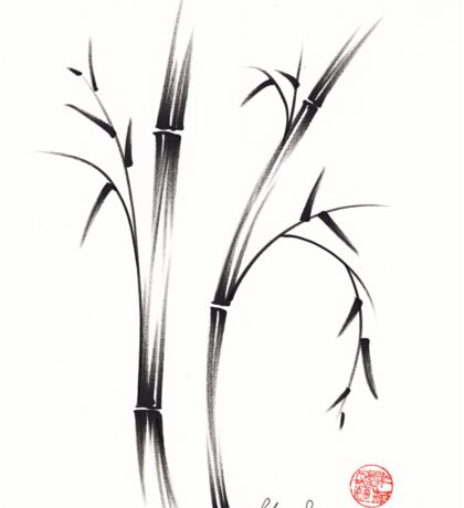 """Morning""  sumi-e brush pen bamboo drawing/painting Sticker"
