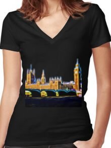 Houses of Parliament with Big Ben, London Women's Fitted V-Neck T-Shirt