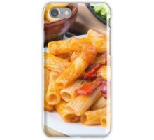 Cooked rigatoni pasta, seasoned with pepper and arugula iPhone Case/Skin