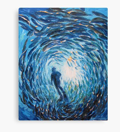 Diver in blue Canvas Print