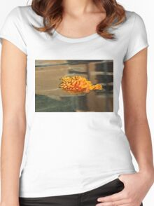 Jewel Drops - Orange Chrysanthemum Bloom Floating in a Fountain Women's Fitted Scoop T-Shirt