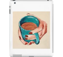 Hands Around A Mug Contemporary Acrylic On Paper Painting iPad Case/Skin