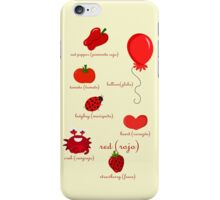 Colors: red (Los colores: rojo) iPhone Case/Skin