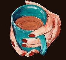 Hands Around A Mug Contemporary Acrylic On Paper Painting Brown Edit by JamesPeart