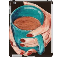 Hands Around A Mug Contemporary Acrylic On Paper Painting Brown Edit iPad Case/Skin