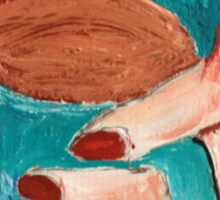 Hands Around A Mug Contemporary Acrylic On Paper Painting Brown Edit Sticker