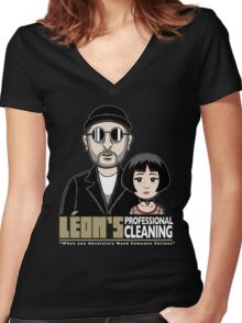 LEON's Professional Cleaning Women's Fitted V-Neck T-Shirt