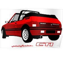 Peugeot 205 CTI cabriolet red Poster