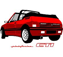 Peugeot 205 CTI cabriolet red Photographic Print