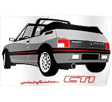 Peugeot 205 CTI cabriolet silver Poster
