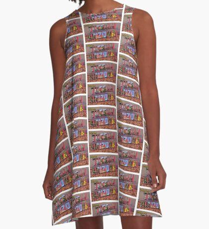Tucson Arizona Postcard A-Line Dress