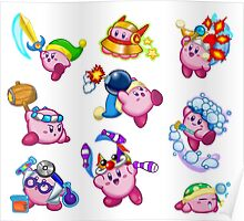 Kirby Abilities Sticker Sheet Poster