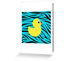Rubber Duck Teal Zebra Greeting Card