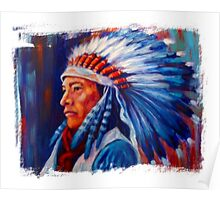 Native American Chief Oil Splash Poster
