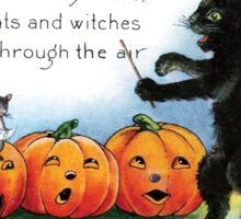 Vintage Halloween Black Cat Choir Sticker