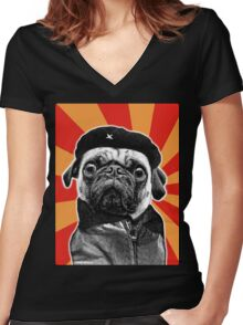 che pug Women's Fitted V-Neck T-Shirt