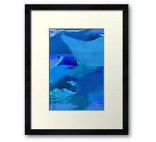 Blue Brush Strokes Framed Print