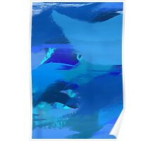 Blue Brush Strokes Poster