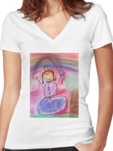 Hailey's Rainbow Snowman Women's Fitted V-Neck T-Shirt
