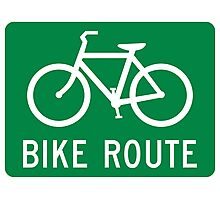 Bike Route Sign Photographic Print