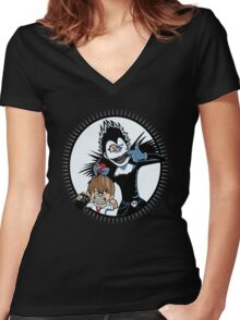 Light & Ryuk Women's Fitted V-Neck T-Shirt