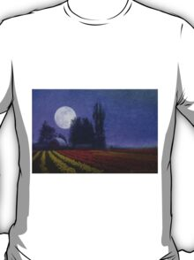moon rise over the tulip fields T-Shirt