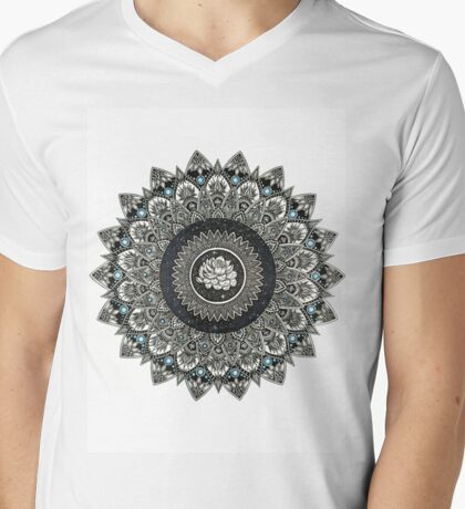 Black and White Flower Mandala with Blue Jewels Mens V-Neck T-Shirt