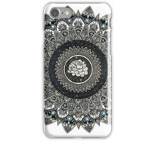 Black and White Flower Mandala with Blue Jewels iPhone Case/Skin