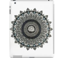 Black and White Flower Mandala with Blue Jewels iPad Case/Skin
