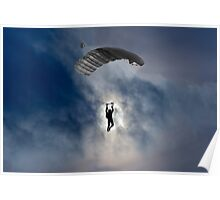 Skydiver and moon Poster