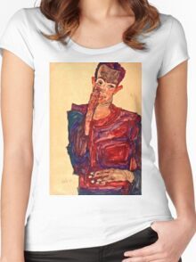 Egon Schiele - Self Portrait with Eyelid Pulled Down, 1910  Women's Fitted Scoop T-Shirt