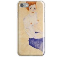 Egon Schiele - Seated Girl With Bare Torso And Light Blue Skirt 1911 iPhone Case/Skin