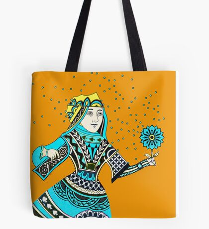 Queen Running with Magic Flower Tote Bag