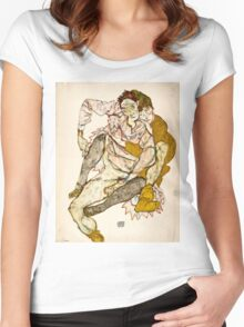 Egon Schiele - Seated Couple, 1915 (1915)  Women's Fitted Scoop T-Shirt