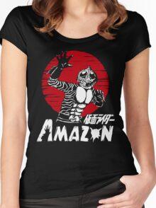 Japan Monster Tokusatsu Retro Masked Kamen Rider Amazon  Women's Fitted Scoop T-Shirt