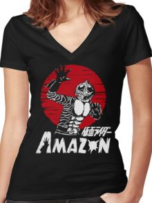 Japan Monster Tokusatsu Retro Masked Kamen Rider Amazon  Women's Fitted V-Neck T-Shirt