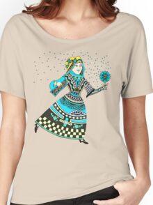 Queen Running with Magic Flower Women's Relaxed Fit T-Shirt