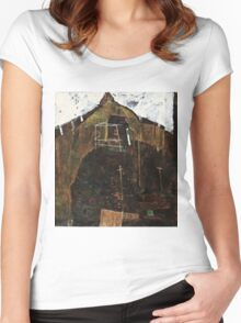 Egon Schiele - Landscape with Ravens (1911)  Women's Fitted Scoop T-Shirt